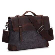 Bolso de mano para hombre, maletín de cuero genuino y combinación de varias telas de lona, estilo mensajero, Vintage, hombro bolsa de ordenador portátil, bolsa de viaje
