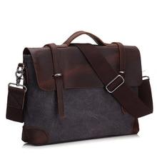 Erkek evrak çantası çanta hakiki deri ve tuval Patchwork erkek postacı çantası Vintage marka erkek omuz dizüstü bilgisayar çantası seyahat çantası