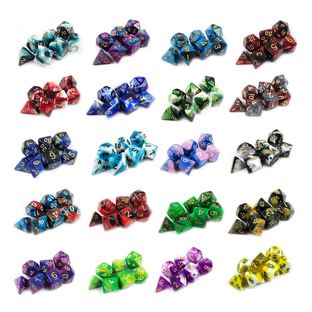 High Quality Hot Sale Mix 20 Different Color Dice Set D4-D20 For DND RPG Parties Toys Board Game As Gift