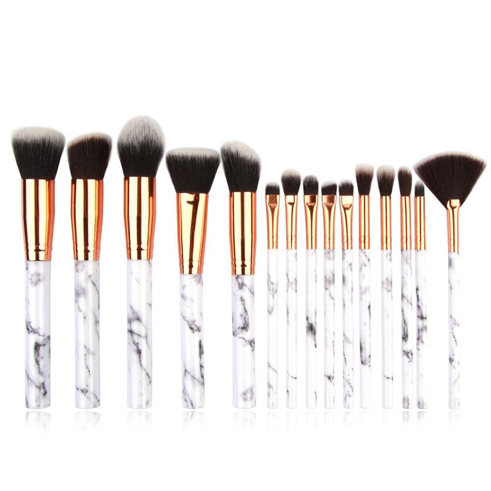 Кисти для макияжа с мраморной текстурой, 15 шт., пудра, тени для век кабуки, косметическая мраморная Кисть для макияжа