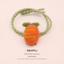 Sempli High Quality 100% Cashmere Hair Rubber Bands for Women Girl Strong Elastic Vegetables Carrot Accessories