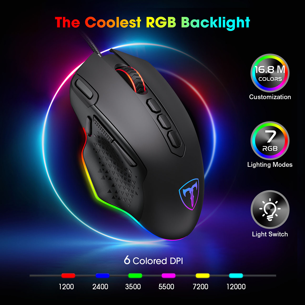 PICTEK PC257 Gaming Mouse Wired 12000 DPI Ergonomic Mouse USB With RGB Backlit 10 Programmable Buttons For Computer Gamer Mice PK Razer Gaming Mouse (1)