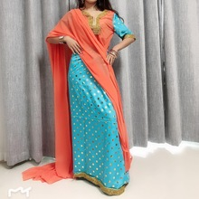Custom sari india pakistan clothing Hot stamping lace v-neck India dress Chiffon Bright color indian