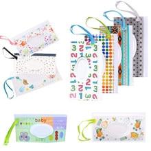 5 pçs toalhetes caixa de armazenamento toalhetes molhados saco recipiente caso dos desenhos animados cute baby bin listras maquiagem portátil limpeza clamshell crianças novo