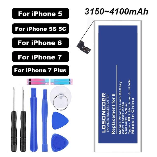 Baterías de polímero de 3400mAh batería de repuesto para iphone 6 De Apple 5 5S 5C 7 7 Plus iphone 6 herramientas de batería soporte pegatinas