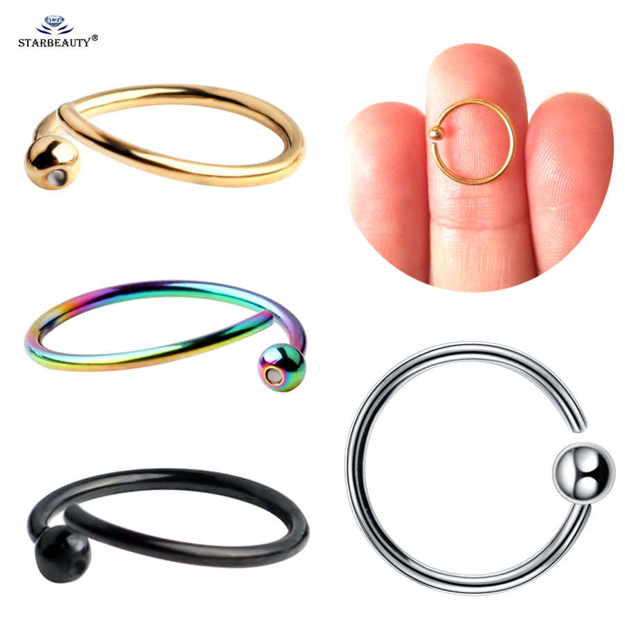 2pcs/lot 0.8mm 20G BCR Ball Fake Nose Ring Helix Ear Piercing Tragus Daith Earrings Fake Piercing Septum Nipple Ring Ear Jewelry