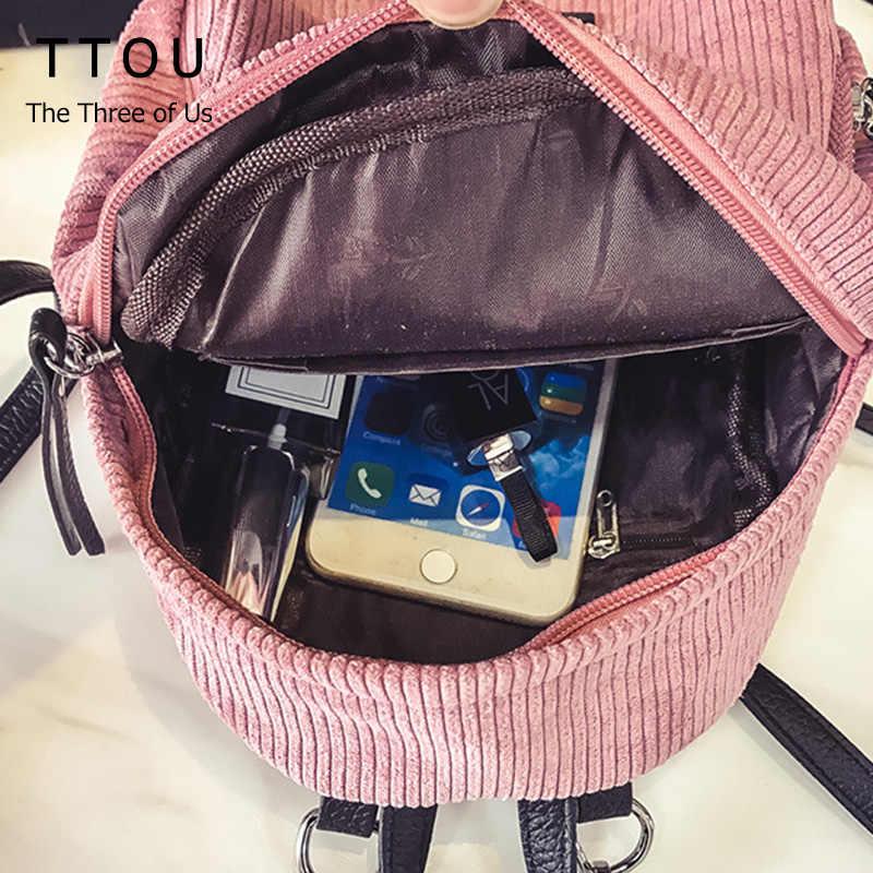 TTOU Wanita Korduroi Ransel Padat Ransel untuk Remaja Putri dengan Bulu Plush Liontin Mochila Feminina Mochilas
