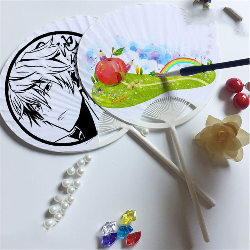 Wholesale Children's White Plastic Paper DIY Painting Fan For Kids DIY Blank Cartoon Chinese Style Mini Craft Gift