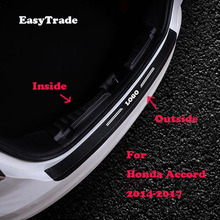 Car Rear Bumper Protector Sill Trunk Tread Plate Trim Door Sill Leather sticker For Honda Accord 2014-2017 Auto accessories two way intercom 1080p outdoor water proof ip bullet camera support tf card and cloud storage