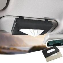 หนังเทียมกล่องกระดาษทิชชูสีดำ Universal Sun Visor เนื้อเยื่อแขวน Backseat ผ้าเช็ดปากออโต้อุปกรณ์ตกแต่งภายใน