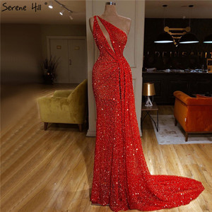 Image 1 - Red One Shoulder Sexy Mermaid Evening Dresses 2020  Beading Sequins Luxury Formal Dress Serene Hill DLA70297
