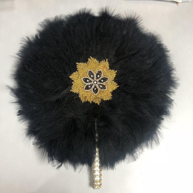 2 pièces africain noir turquie plume main ventilateur à la main ventilateurs pour la décoration de mariage perlé main ventilateur Double face plume ventilateur-30