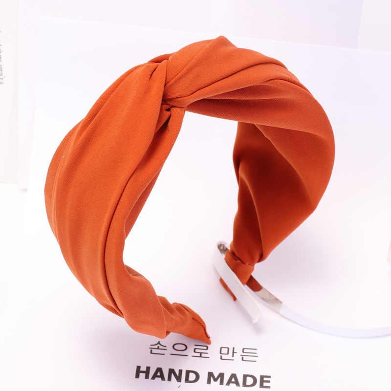 Einfarbig Tuch Kreuz Haarband Stirnband Turban für Frauen Dame Breite Kunststoff Haar Hoop Lünette Haar Bands Zubehör