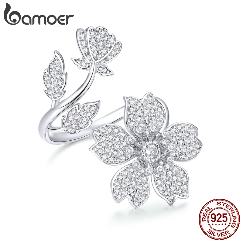 Bamoer Spring Sakura Flower Open Free Size Finger Rings For Women 925 Sterling Silver Cocktail Luxury Brand Jewelry BSR076