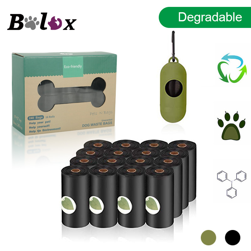 Biodegradable Dog Poop Bag Eco-Friendly Pet Waste Bags with Dispenser Outdoor Clean Pet Poop Bags Dog walking Supplies