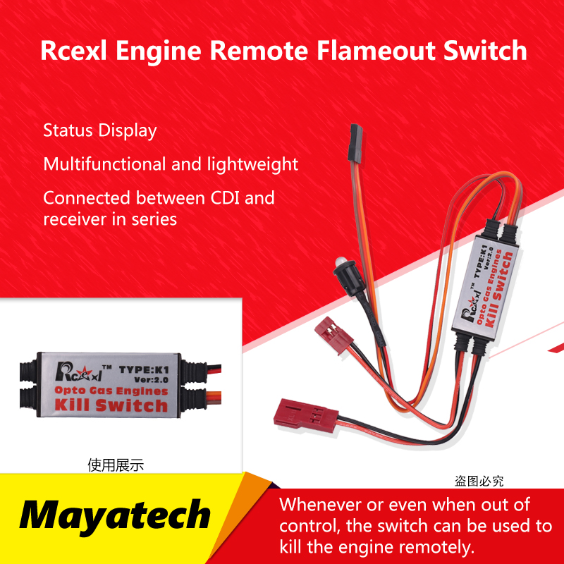 Rcexl 2.0 Opto Gas Engine CDI Kill Switch Flameout Switch for RC Model DLE Gasoline Engine Airplane Parts image