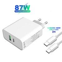 Adaptador de carga rápida tipo PD C de 87W, Cargador rápido de 2 puertos para MacBook Pro/Air, Lenovo, Dell, Nintendo Switch, Cable de USB-C e-mark de 2M