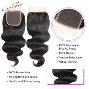 Image 5 - Бразильские волнистые пучки с застежкой, 3 пряди, пупряди волос Remy с застежкой, пупряди человеческих волос Angel Grace с застежкой