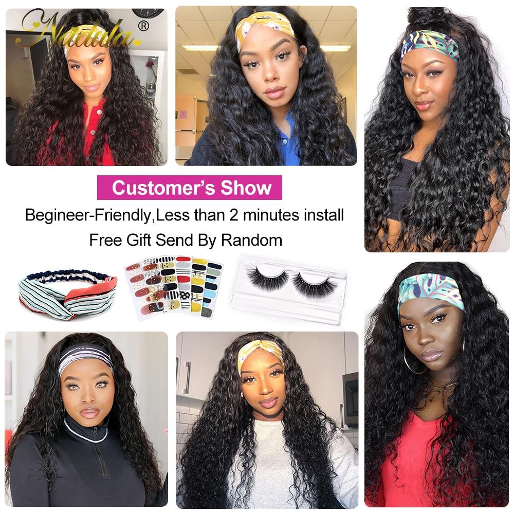 """Nadula  Headband Wig 14""""-26"""" Water Wave Hair Scarf Wig No GLUE Water Wave Headband Wig  for Women Easy Wear 6"""