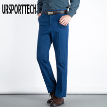 2019 Spring Brand Men Jeans Men High Waist Straight Loose Elastic Denim Pants Men Summer Thin Father Trousers Jeans Streetwear цены онлайн