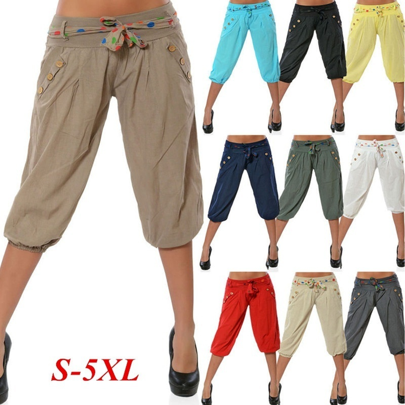 ZOGAA Women Harem Sweatpants Fashion Knee Length Capris Pants Summer Loose Candy Color Casual Chino Harem Pants Plus Size S-5XL