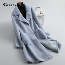 GOURS Winter Women Real Fur Coats and Jackets Natural Wool L