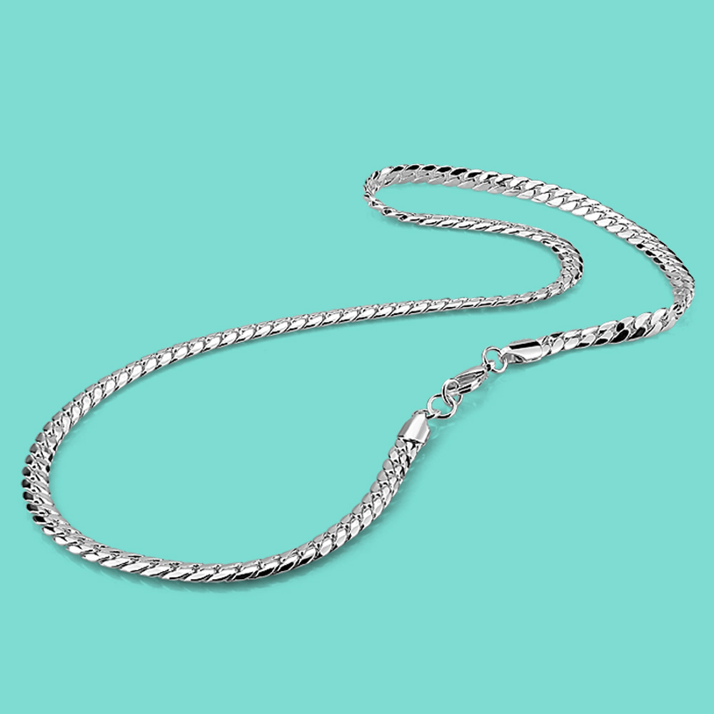 Fashion 925 sterling silver necklace men solid sterling silve whip necklace punk style 925 sterling silver jewelry 6mm51cm chain