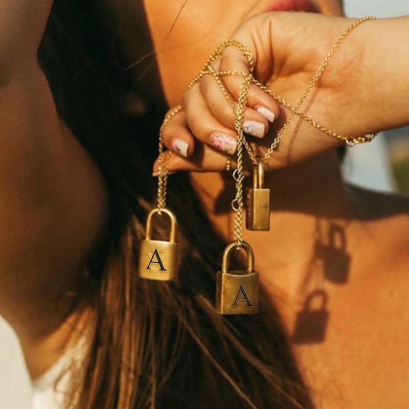 Ожерелье с подвеской висячий замок ожерелье для женщин из нержавеющей стали буквы и замок подвеска, ожерелье, амулеты 2020 ювелирные изделия ...