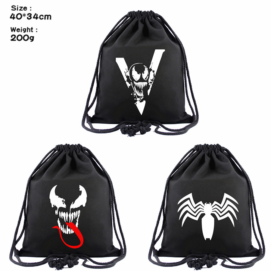 Movies Venom Canvas Drawstring Bags Boys Girls Casual Beach Bag Black Shoes Pouch Fashion Backpack Women Cosmetic Stringbag Gift