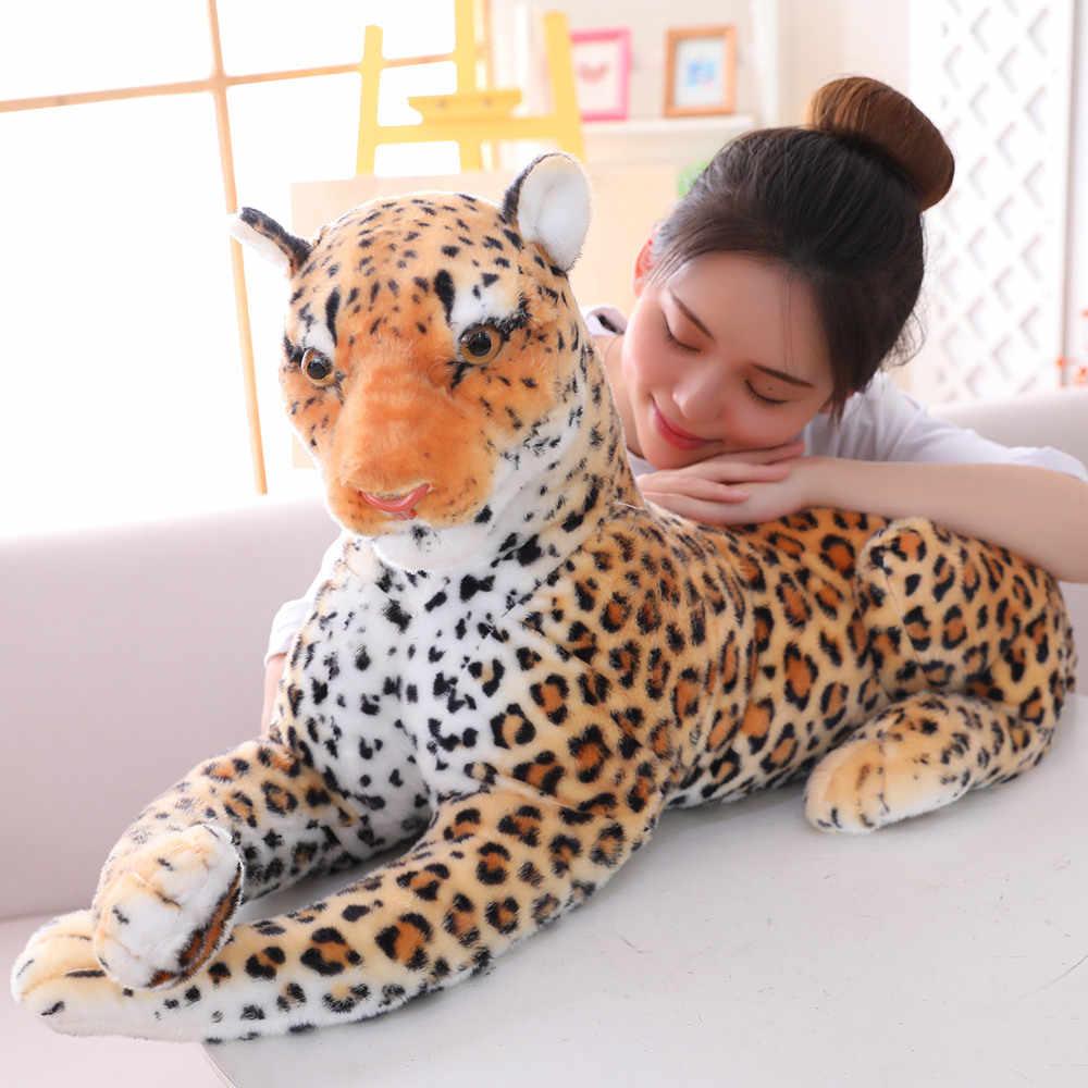 30-120cm géant noir léopard panthère en peluche jouets doux en peluche oreiller Animal poupée jaune blanc tigre jouets pour enfants