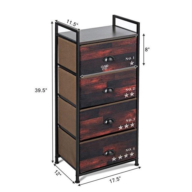 Costway 4 Drawer Fabric Dresser Storage Tower Nightstand Sturdy Steel Frame Closet 2
