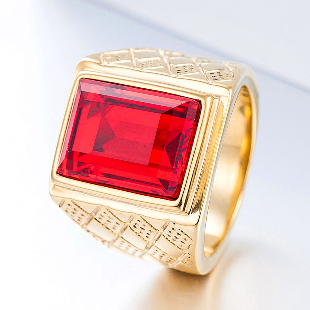 Big Square Ruby Red Gemstones Rings For Men Gold Tone Titanium Stainless Steel  Jewelry Bague Bijoux Masculine Finger Accessory