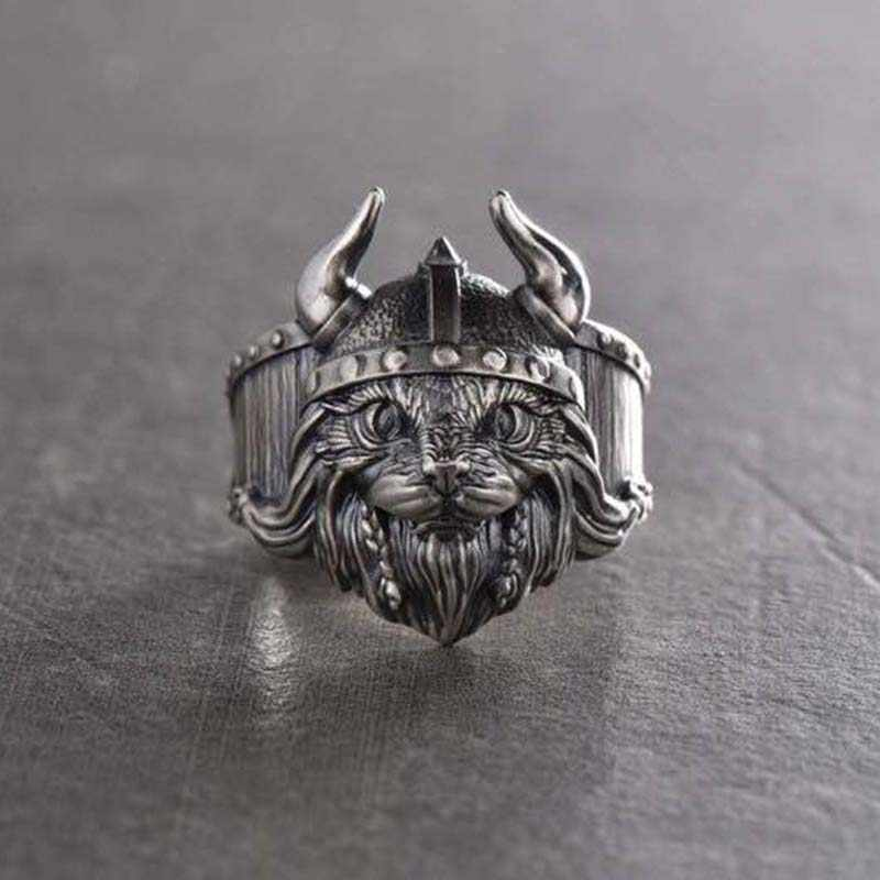 Vintage Silver สี Lion Horn ชายหญิงแหวนแมวคิตตี้สัตว์เปิดขนาดใหญ่เครื่องประดับ