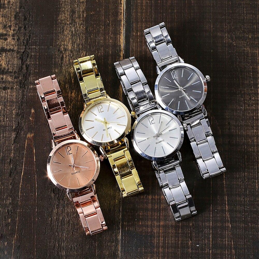 Новинка 2019, женские часы с ремешком из нержавеющей стали, Классические минималистичные Аналоговые Женские кварцевые наручные часы