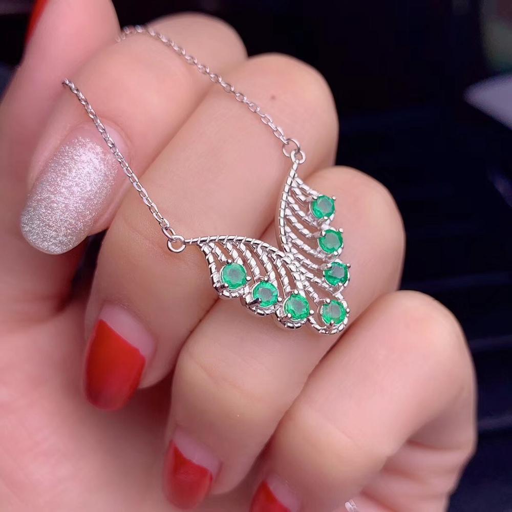Uloveido testé collier pendentif émeraude pour les femmes, 925 bijoux de mariage en argent Sterling, 3*3mm gemme, certificat de boîte de velours FN703