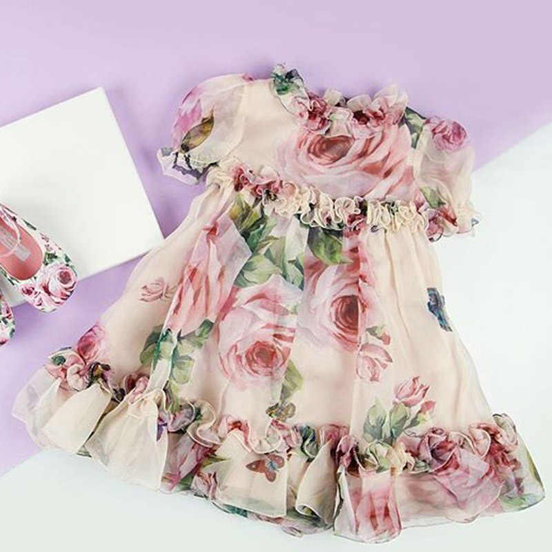 New Princess Girl Floral Tulle Dress Kid Baby Girl Flower Puff Sleeve Princess Wedding Party Pageant Chidlren Tulle Sundress