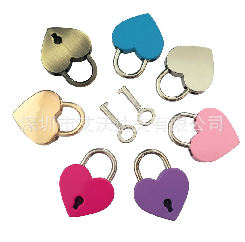 Heart·traeh Xing Suo Manufacturers Direct Selling Couples Peach Heart Padlock Diamond Set Heart·traeh Xing Suo Heart-shape Lock