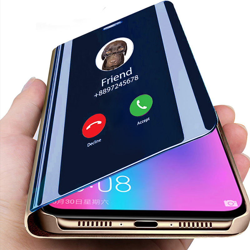 <font><b>Luxury</b></font> Smart Mirror Flip <font><b>Case</b></font> For <font><b>Samsung</b></font> <font><b>Galaxy</b></font> Note 9 8 10 S9 S10 S8 S10E J4 J6 A6 A7 A8 Plus 2018 A50 A70 A20 <font><b>A30</b></font> Cover Coque image