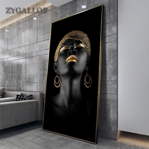 Modern Art Canvas Painting African Black Woman Posters and Prints Scandinavian Wall Art Pictures For Living Room Home Decoration