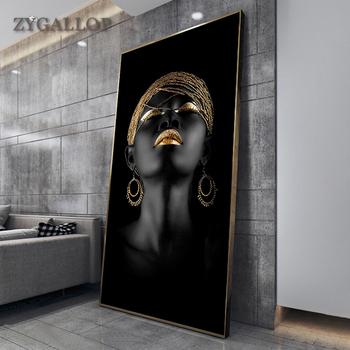 Sztuka współczesna obraz na płótnie afrykańskie czarne kobiety plakaty i druki skandynawskie obrazy na ścianę do salonu dekoracji wnętrz tanie i dobre opinie ZYGALLOP CN (pochodzenie) Wydruki na płótnie Pojedyncze PŁÓTNO Wodoodporny tusz Obraz z postacią bez ramki AMERYKAŃSKI STYL