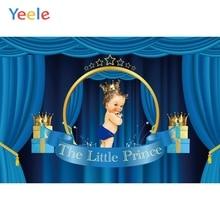 Yeele Baby Shower Backdrop Blue Curtain Newborn Boy Prince Birthday Custom Photography Background Vinyl For Photo Studio