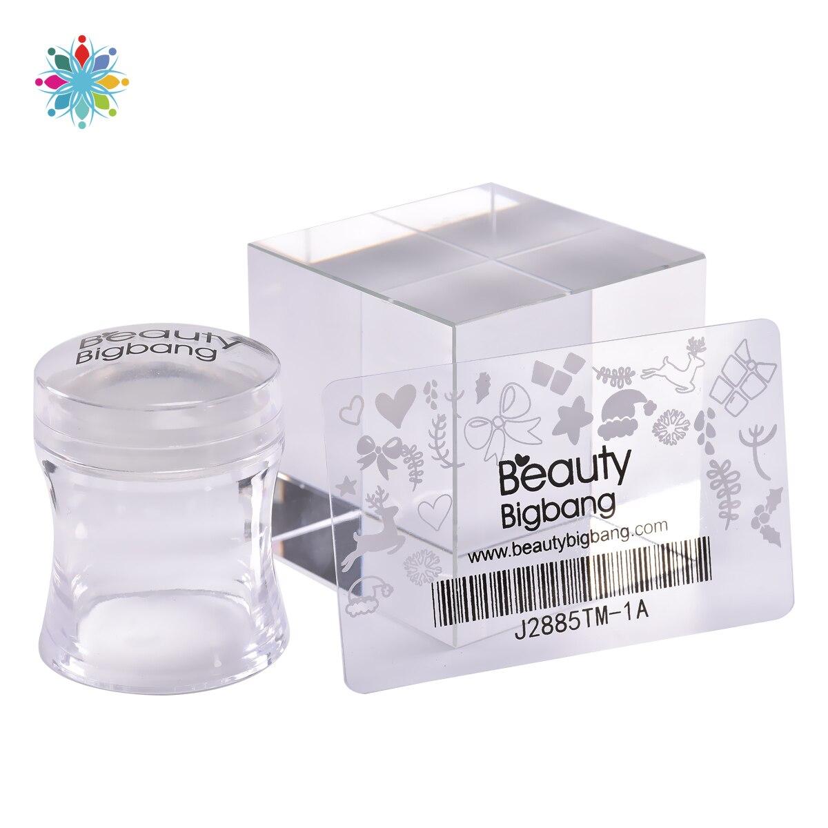 Beautybigbang 1 conjunto de silicone prego stamper retângulo geléia com raspador alça clara carimbar ferramenta manicure arte do prego stamper kit