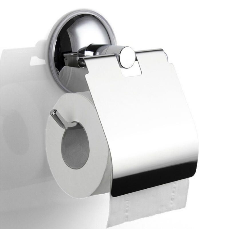 Bathroom Toilet Roll Paper Holder Vacuum Suction Cup Stainless Steel Wall Mount