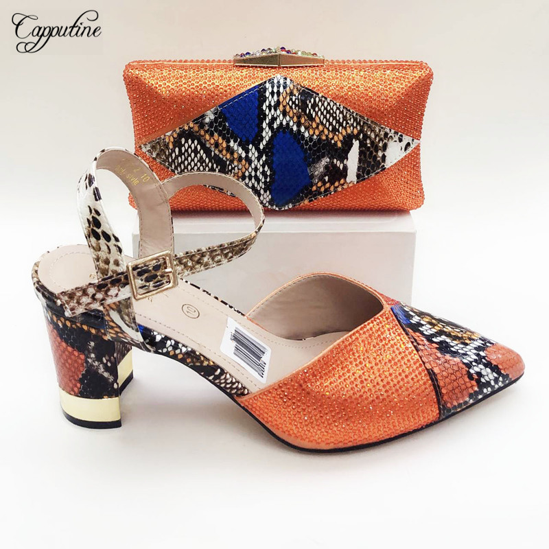 Amazing Orange Spring/Autumn Shoes And Handbag Set Latest Lady Pointed Toe Shoes With Bag For Wedding 2096-2 Heel Height 8.5CM