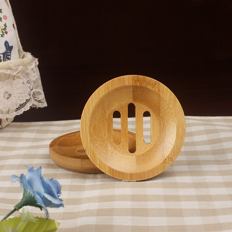 Natural Wooden Bamboo Soap Dish Wooden Soap Bathroom Shower Round Shape Storage Support Plate Stand Wood Box