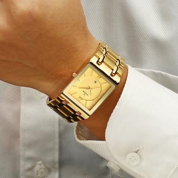 Relogio Masculino WWOOR złoty zegarek mężczyźni kwadratowe męskie zegarki Top marka luksusowy złoty zegarek kwarcowy ze stali nierdzewnej wodoodporny zegarek na rękę tanie i dobre opinie 22cm Luxury ru QUARTZ Rohs 5Bar Zapięcie bransolety CN (pochodzenie) STAINLESS STEEL 10mm Hardlex Kwarcowe zegarki Papier
