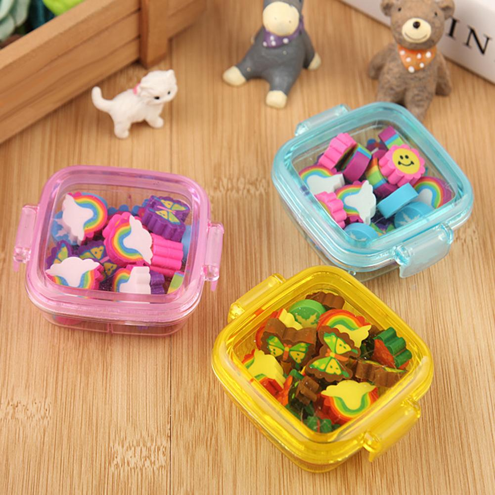 20Pcs/Box Cute Rainbow Butterfly Flower Rubber Eraser Kid Gift School Stationery
