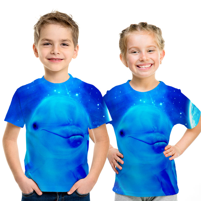 Animal World  T-shirt Cute Dolphin Eagle Parent-child Outfit Kids Casual Clothing Boys And Girls T-shirts Streetwear T Shirts So