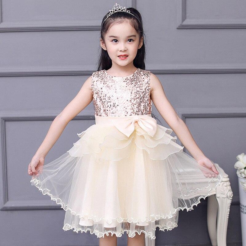 New Style Europe And America Girls' Princess Skirt GIRL'S Gown Flower Boys/Flower Girls Puffy Yarn Dress Bow Sequin Costume