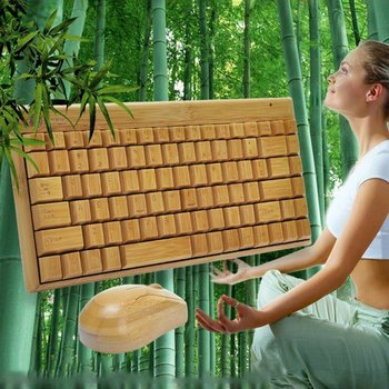 4G Bamboo Wireless Keyboard And Mouse Combo Natural Wood Handmade Computer Keyboard Plug And Play For Home Office Use 2 4g wireless keyboard and mouse combo orsolya whisper quiet english german de italian it layout keyboard rose gold silver